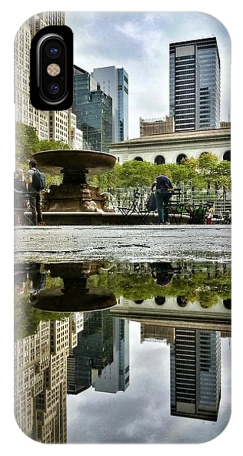 Bryant Park IPhone X Case featuring the photograph Reflecting In Bryant Park by Shmuli Evers