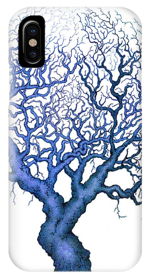 Blue IPhone X Case featuring the painting Reflection by Andrew Zeutzius