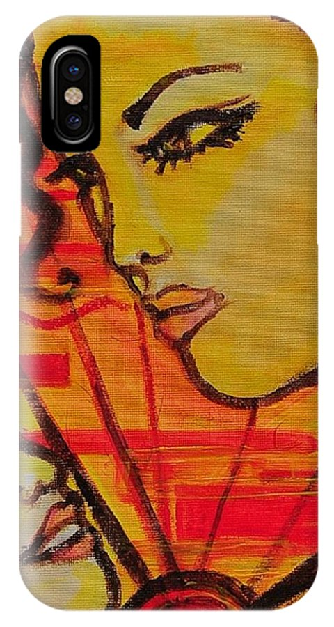 Woman IPhone X Case featuring the painting Reflection At Dawn by Arianne Lequay