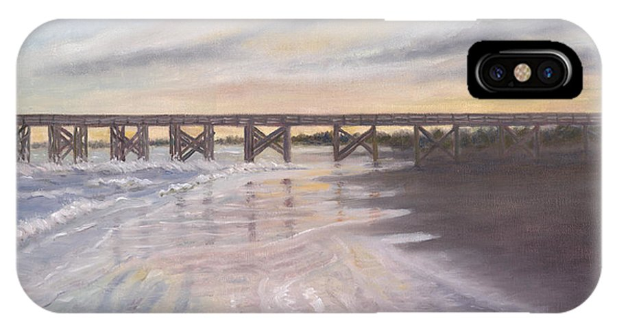 Beach; Pier; Low Country IPhone X Case featuring the painting Reflections by Ben Kiger