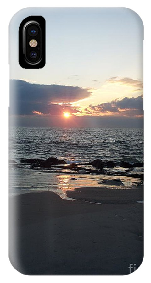 Reflections IPhone X Case featuring the painting Reflections Cape May Point by Eric Schiabor