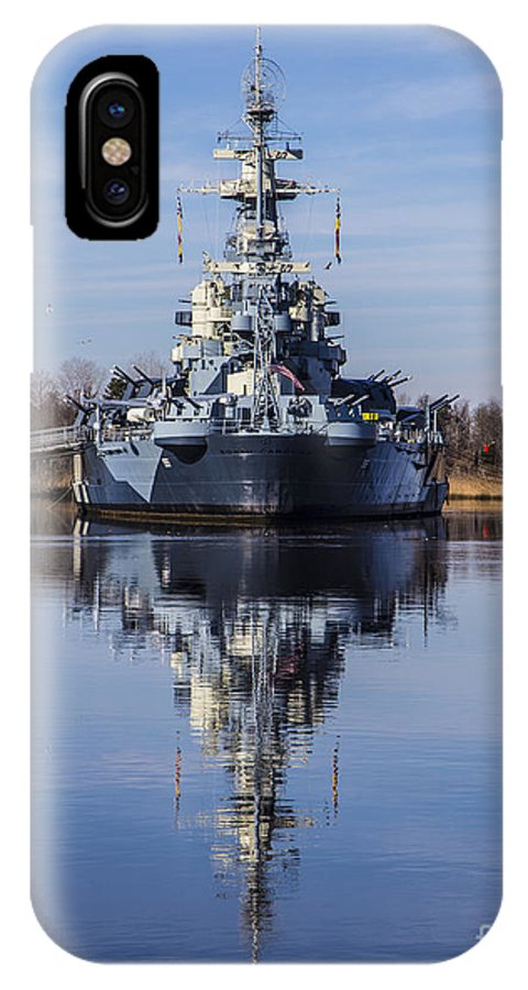 Uss North Carolina IPhone X Case featuring the photograph Reflections by Marie Kirschner
