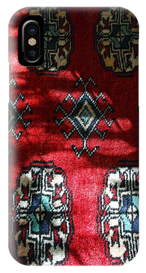 Hand-knotted Rug IPhone X Case featuring the photograph Reflections On A Persian Rug by Michele Myers