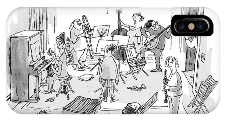 76913 Gbo George Booth (man To A Roomful Of Scraggly Musicians.) Arrested Canceled Cancellation Cops Crime Criminal Entertainment Instrument Law Man Music Musical Musician Musicians Performance Police Roomful Scraggly Singing Song IPhone X Case featuring the drawing Rehearsal's Off! Our ?rst Violinist by George Booth