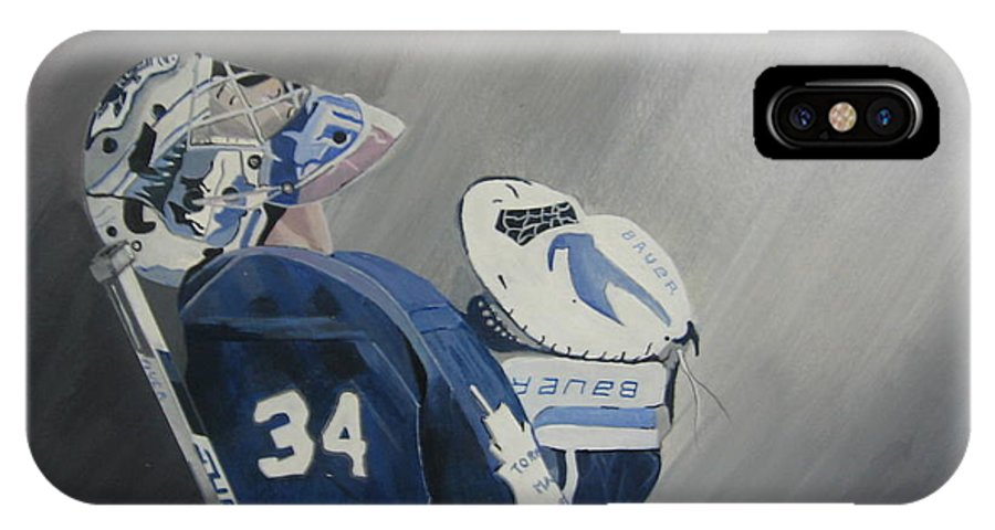 Toronto Maple Leafs IPhone X Case featuring the painting Reimer by Clifford Knoll