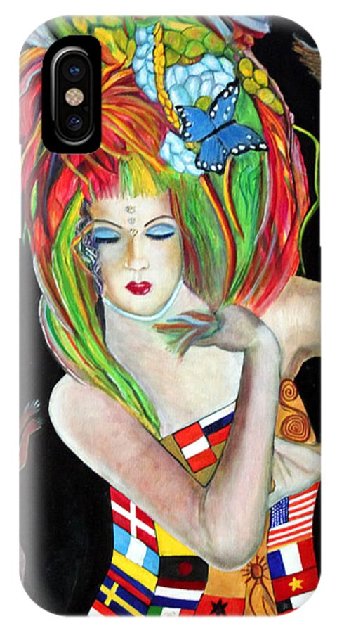 Queen IPhone X Case featuring the painting Reina De Los Angelitos by Pilar Martinez-Byrne