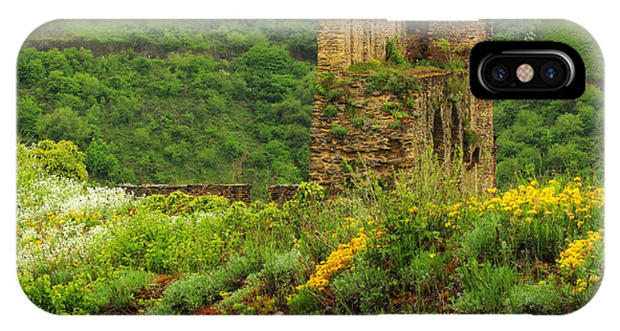 Reinfels IPhone X Case featuring the photograph Reinfels Castle Ruins And Wildflowers In The Rhine River Valley 1 by Greg Matchick