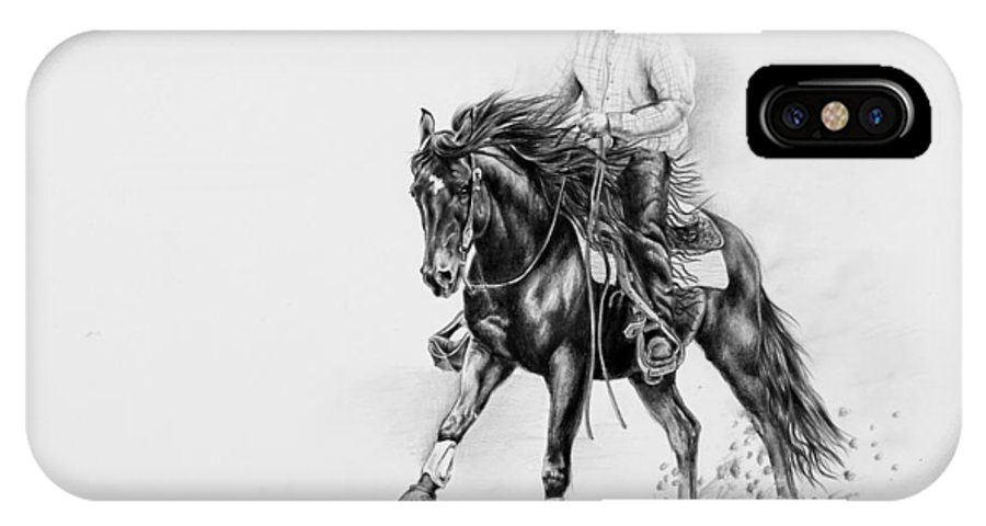 Appaloosa IPhone X Case featuring the drawing Reining by Art Imago