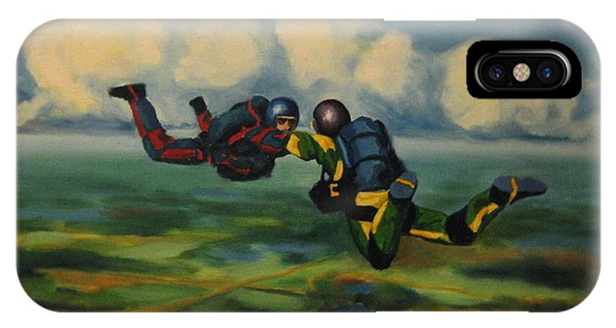 Skydivers IPhone X Case featuring the painting Relative Work by John Malone
