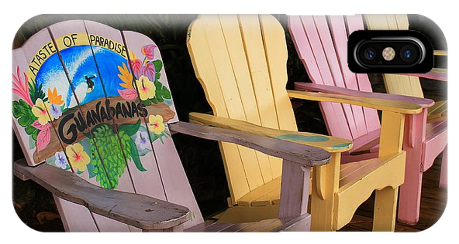 Colorful Wooden Beach Chairs IPhone X Case featuring the photograph Relax Here by Catie Canetti