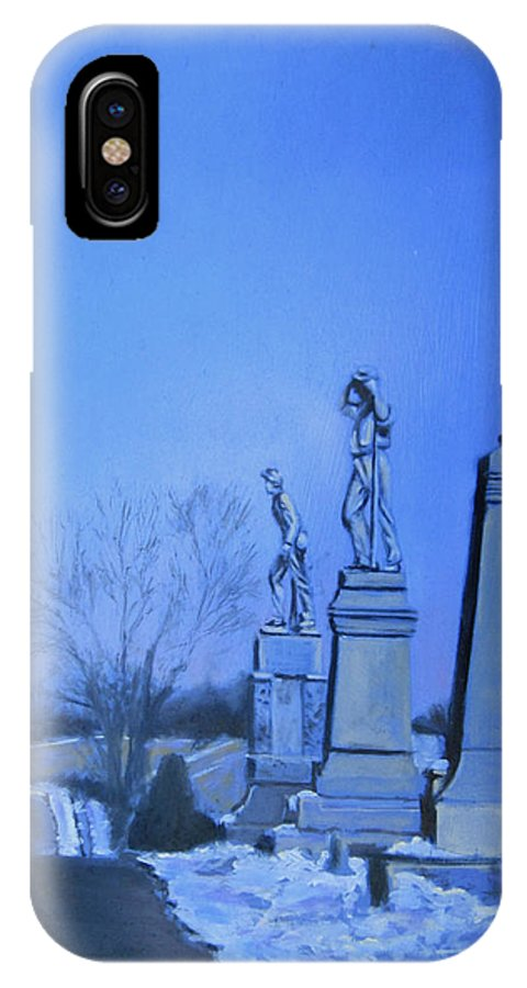 Confederate Soldiers Paintings IPhone X / XS Case featuring the painting Remembrance by David Zimmerman