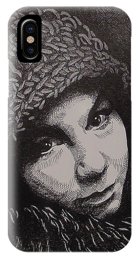 Portraiture IPhone X Case featuring the drawing Rena by Denis Gloudeman