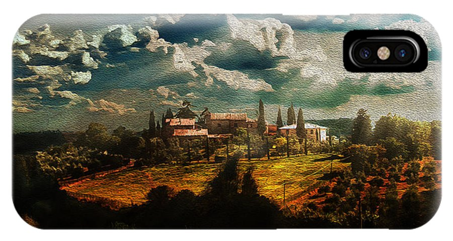 Tuscany IPhone X Case featuring the photograph Renaissance Landscape With Power Lines by Aleksander Rotner