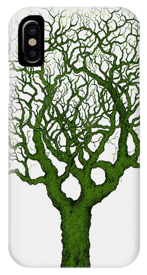 Green IPhone X Case featuring the painting Renewal by Andrew Zeutzius