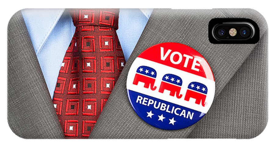 Man IPhone X Case featuring the photograph Republican Vote Badge by Joe Belanger