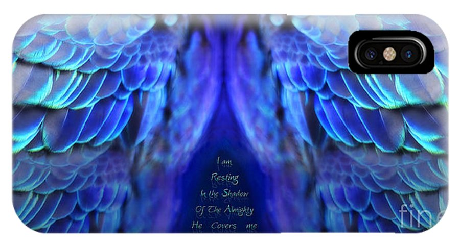 Wings IPhone X Case featuring the digital art Psalm 91 Wings by Constance Woods