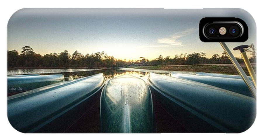 Allaso Ranch IPhone X Case featuring the photograph Resting Canoes by David Morefield