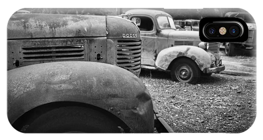 Old Trucks IPhone X Case featuring the photograph Retired Dodge Trucks by Ron Roberts
