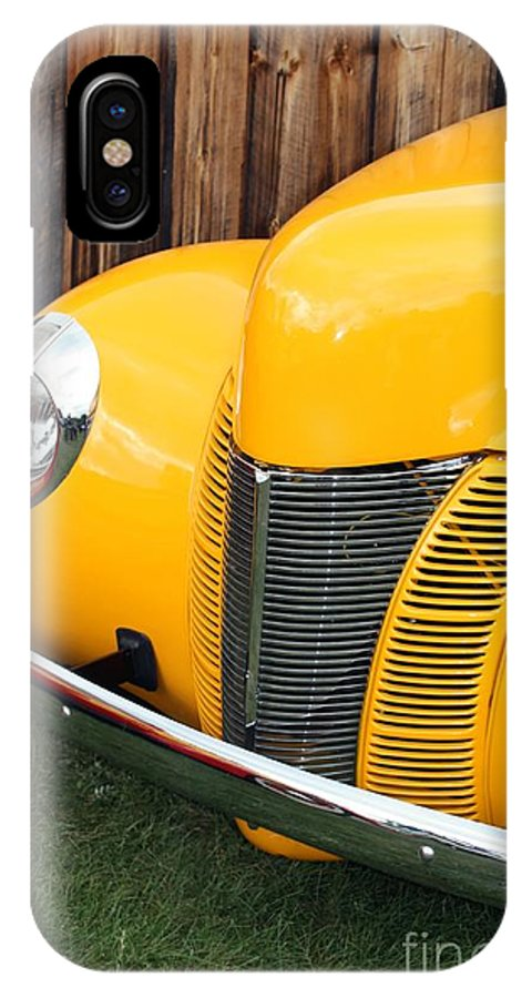 Car IPhone X Case featuring the photograph Retro Yellow by Sophie Vigneault