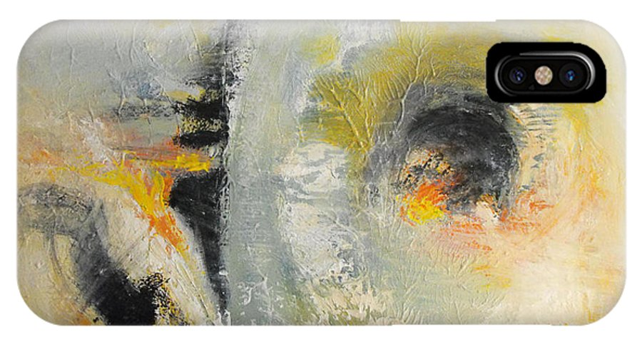 Abstract Painting IPhone X Case featuring the painting Retrospect by Soma Mandal Datta