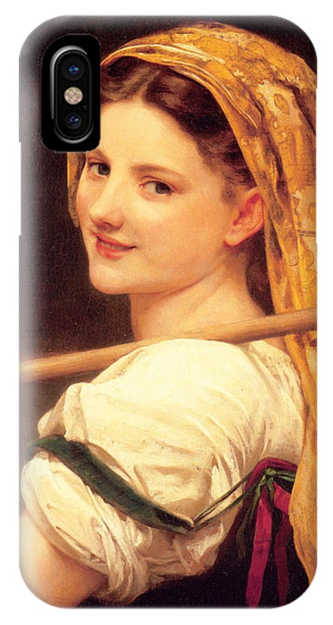 Returned From The Market IPhone X Case featuring the painting Returned From The Market by William-Adolphe Bouguereau