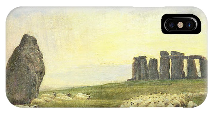 Sheep IPhone X Case featuring the painting Returning Home   Stonehenge by Edgar Barclay