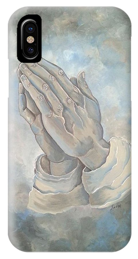 Praying Hands IPhone X / XS Case featuring the painting Reverence by Deborah Heins