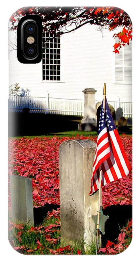 American's Flag IPhone X Case featuring the photograph Revolutionary War Hero by Elizabeth Dow