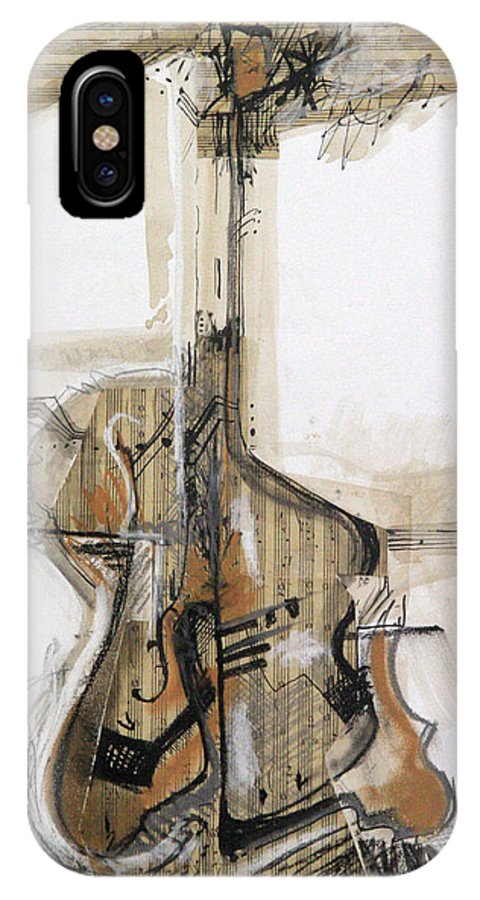 Abstract IPhone X Case featuring the drawing Rhapsody 8 by Mirela Vasile