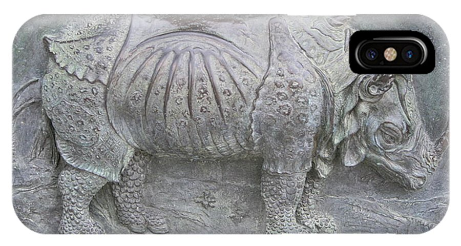 Bronze Relief IPhone X Case featuring the photograph Rhino Relief - Church Door Detail Pisa by Christiane Schulze Art And Photography