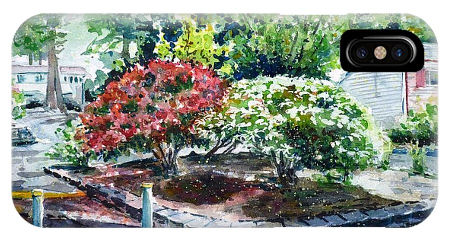 Rhododendrons IPhone X Case featuring the painting Rhododendrons In The Yard by Zaira Dzhaubaeva