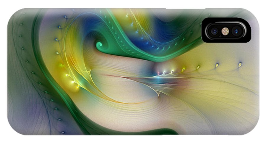 Abstract IPhone X Case featuring the digital art Rhythm Of Life-abstract Fractal Art by Karin Kuhlmann