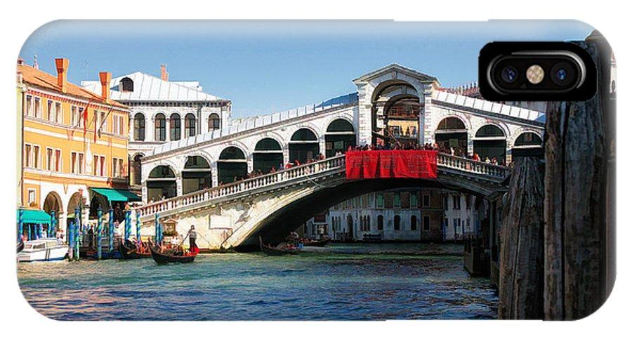 Italy IPhone X Case featuring the photograph Rialto Bridge Venice by Timothy Hacker