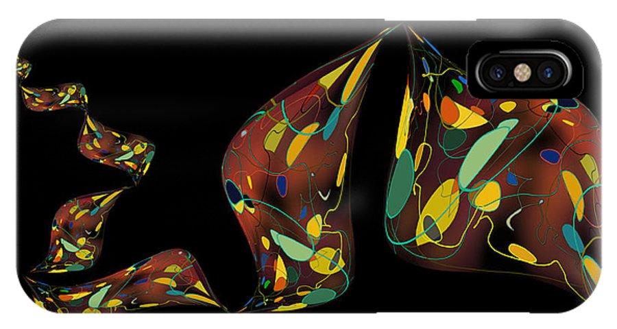 Fish IPhone X Case featuring the digital art Ribbon Bubbles by Constance Krejci