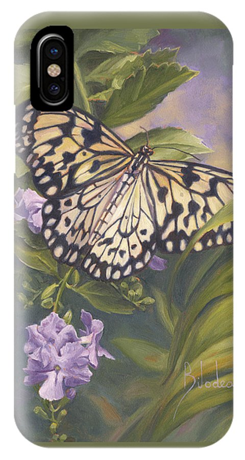 Butterfly IPhone X Case featuring the painting Rice Paper Butterfly by Lucie Bilodeau