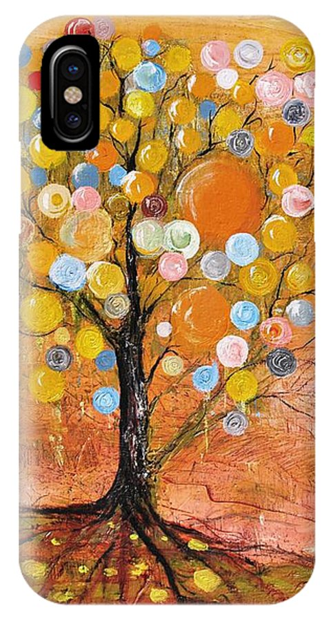 Fantasy IPhone X Case featuring the painting Rich Tree by Evelina Popilian