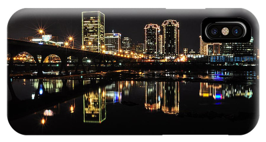 Rva IPhone X Case featuring the photograph Richmond Night Skyline by Stacy Abbott