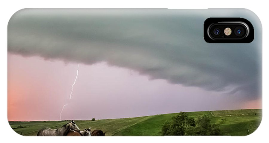 Landscape IPhone X Case featuring the photograph Riding The Storm Out by Charles Sadler