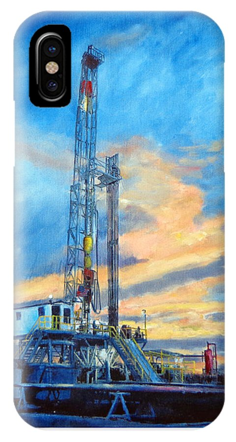 Oil Field Art IPhone X Case featuring the painting Rig 7 by Toyah Taylor