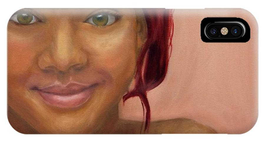 Rihanna IPhone X Case featuring the painting Rihanna by Guy Elhanani