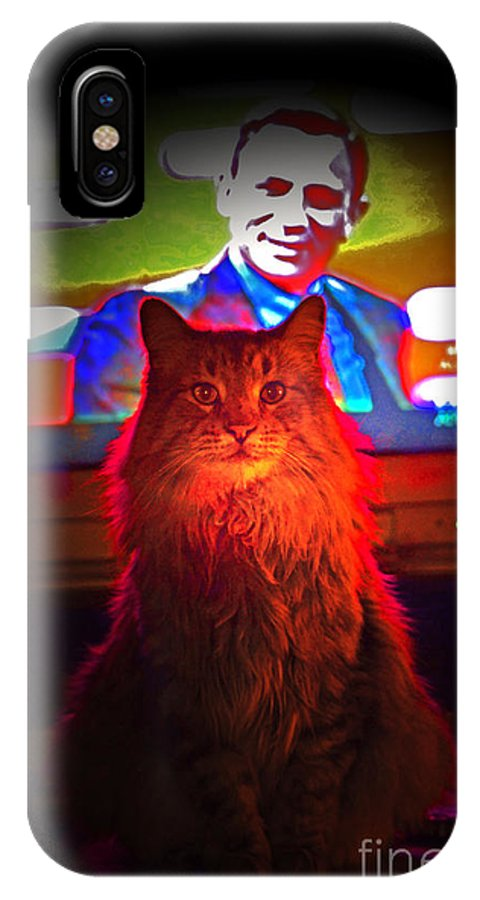 Cat Portrait IPhone X Case featuring the photograph Riley And James Bond by Susanne Still