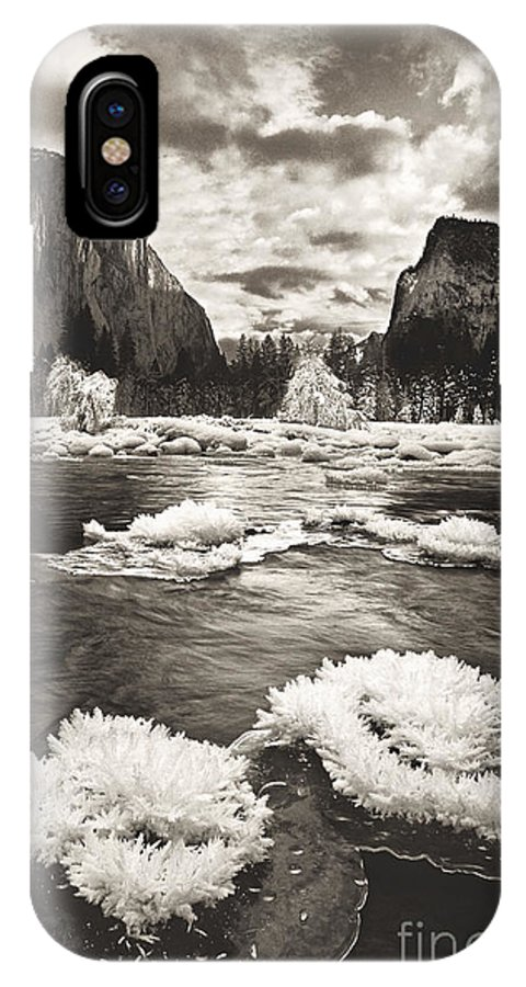 North America IPhone X Case featuring the photograph Rime Ice On The Merced In Black And White by Dave Welling