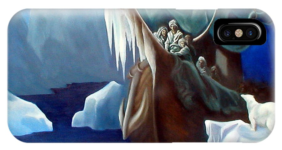 Oil Paintings IPhone X Case featuring the painting Rime Of The Ancient Mariner A Tribute To Gustave Dore by Rosemarie Morelli