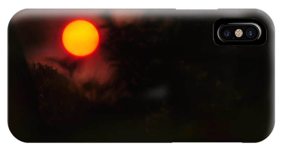 Photography IPhone X Case featuring the photograph Ring Of Fire - Eerie Bushfire Sunset by Kaye Menner