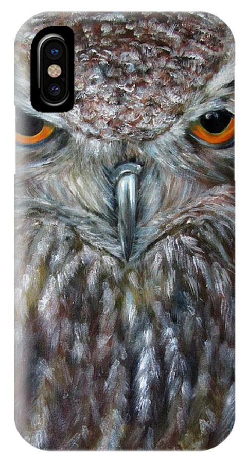 Owl IPhone X Case featuring the painting Rings Of Fire, Owl by Sandra Reeves