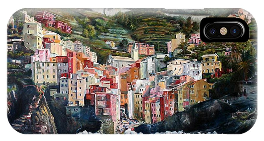 Cinque Terre IPhone Case featuring the painting Riomaggiore Glory- Cinque Terre by Jennifer Lycke