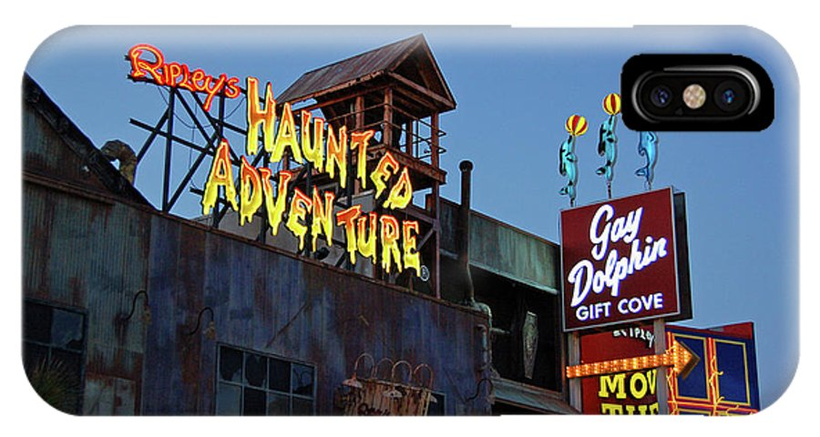 Neon IPhone X Case featuring the photograph Ripleys Haunted Adventure and the Gay Dolphin-Myrtle Beach South Carolina by Suzanne Gaff