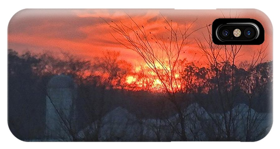 Sunrise IPhone X Case featuring the photograph Risin' O'er The Farm by Loreena Williams