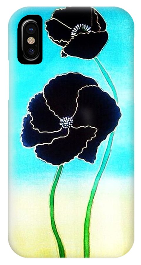 Rise IPhone X Case featuring the painting Rising Poppies by Dye n Design