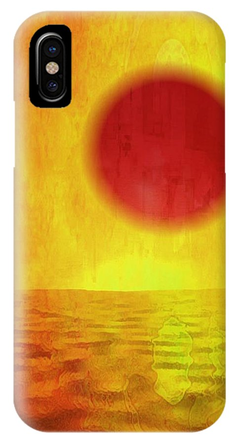 Red IPhone X Case featuring the painting Rising Sun by Anne Costello